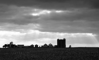 Storm clouds over farm. Walcott IA.