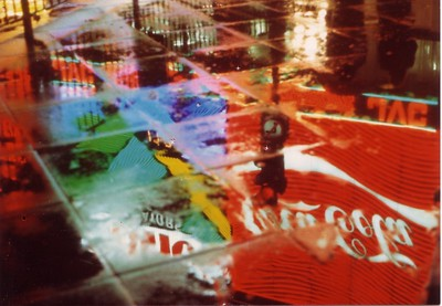 Lights of Picadilly taken in footpath reflection 1982