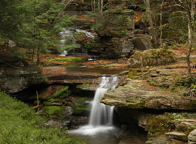 Tomkins Falls in the Catskills on Barkaboom Rd Near the Pepacton Reservoir. Warm & spooky version.
