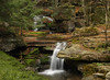 Tomkins Falls in the Catskills on Barkaboom Rd Near the Pepacton Reservoir.<br /> Warm & spooky version.