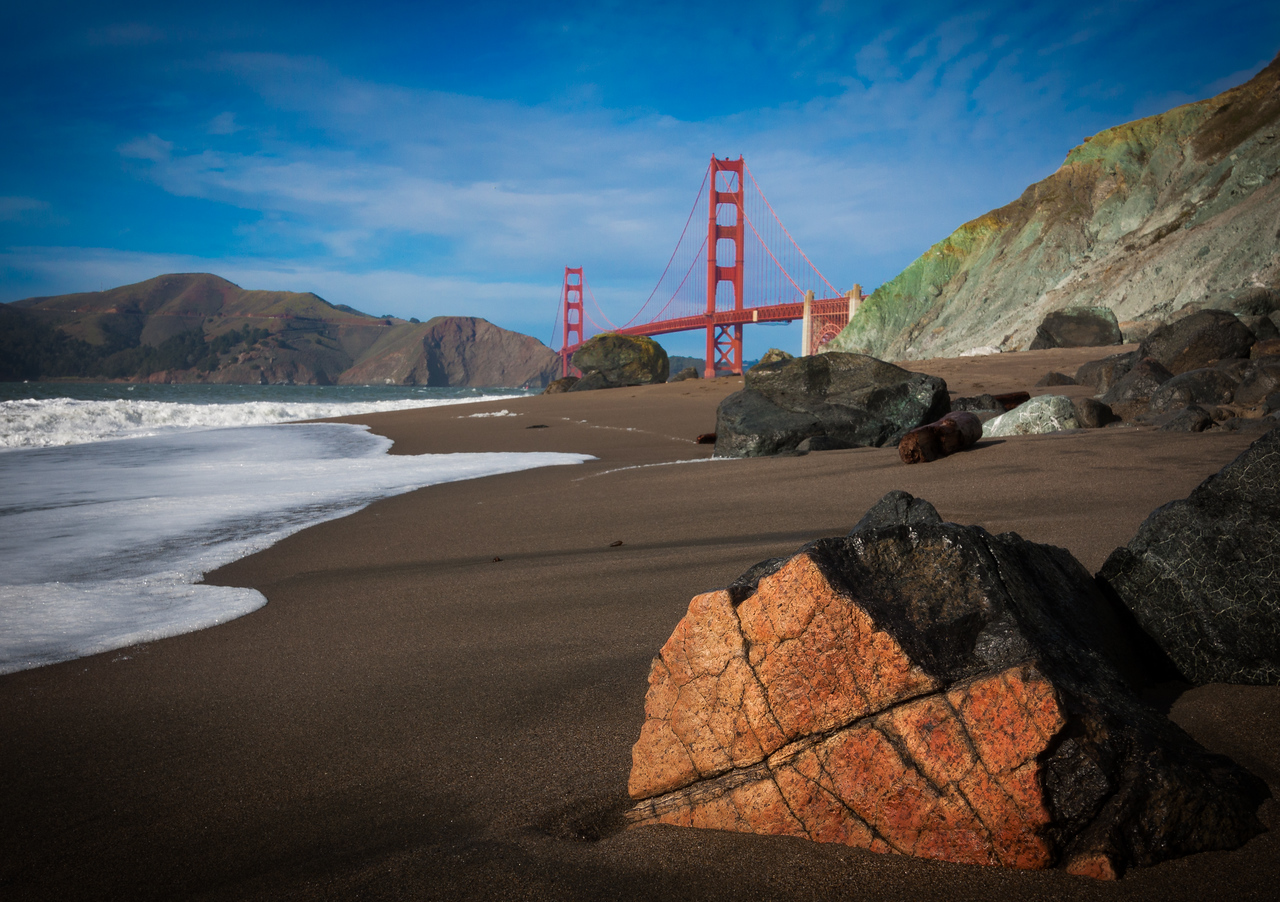 Golden gate viewed from Baker beach in San Francisco.