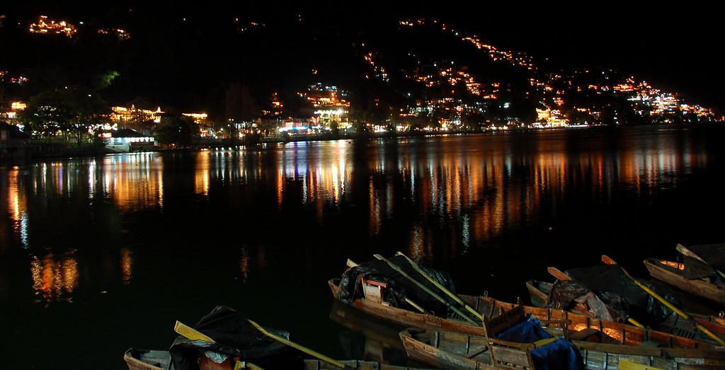 Naini Lake, Nainital glittering at night