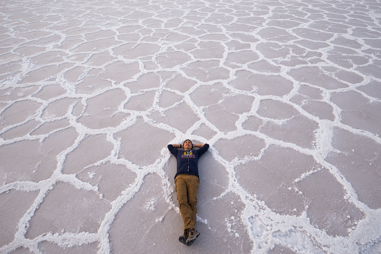 Lounging on Salt Flats. Badwater Basin, Death Valley, CA, USA