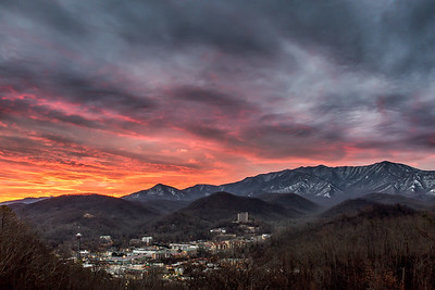 Snowy LeConte Sunrise Over Gatlinburg