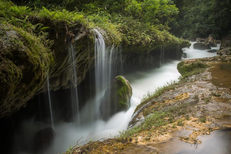 Waterfall into the Underground River, Guatemala