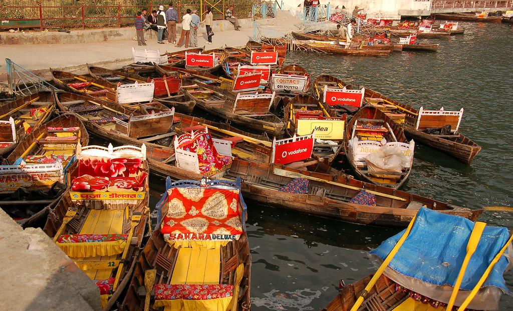 Colorful boats parked in Naini Lake, Nainital