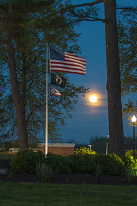 Super Moon at Twinsburg Township Square w/ US Flag & POW Flag