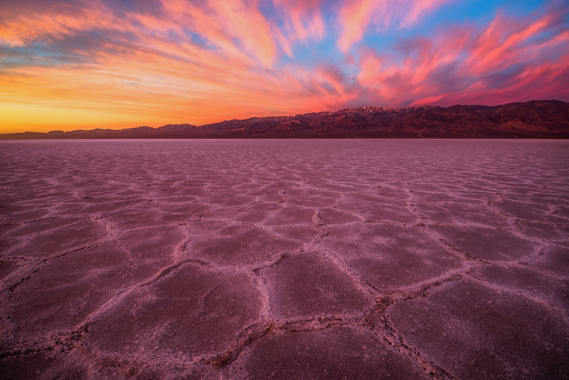 Badwater Basin at Sunrise. Death Valley, CA, USA