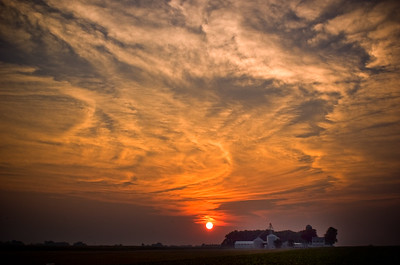 Sunrise over a farm field in Preble Co. Ohio.