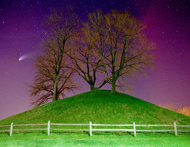 Enon Mound at night with the Hale Bopp Comet.