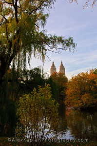 View through the trees changing color for the fall and beyond water of two identical towers on a building by Alex Kaplan, photographer http://www.alexkaplanphoto.com