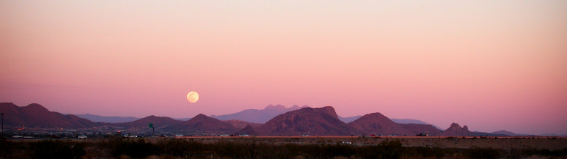 Moonrise over Four Peaks cropped