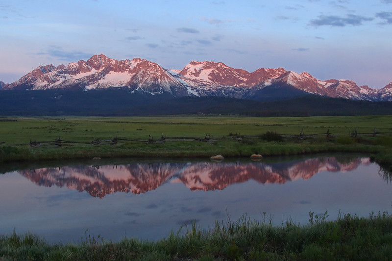 Sunrise on the Sawtooth Mtns outside of Stanley, Idaho.