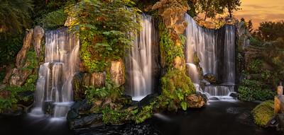 Waterfall at Longshan Temple, Taipei, Taiwan