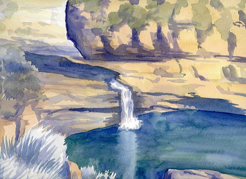 """ Bell Gorge Water Hole"" Australia. Watercolour."