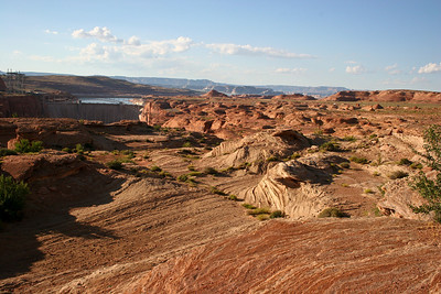 Page AZ with the Glen Canyon Dam in the background.  The Glen Canyon Dam is a dam on the Colorado River is operated by the United States Bureau of Reclamation.