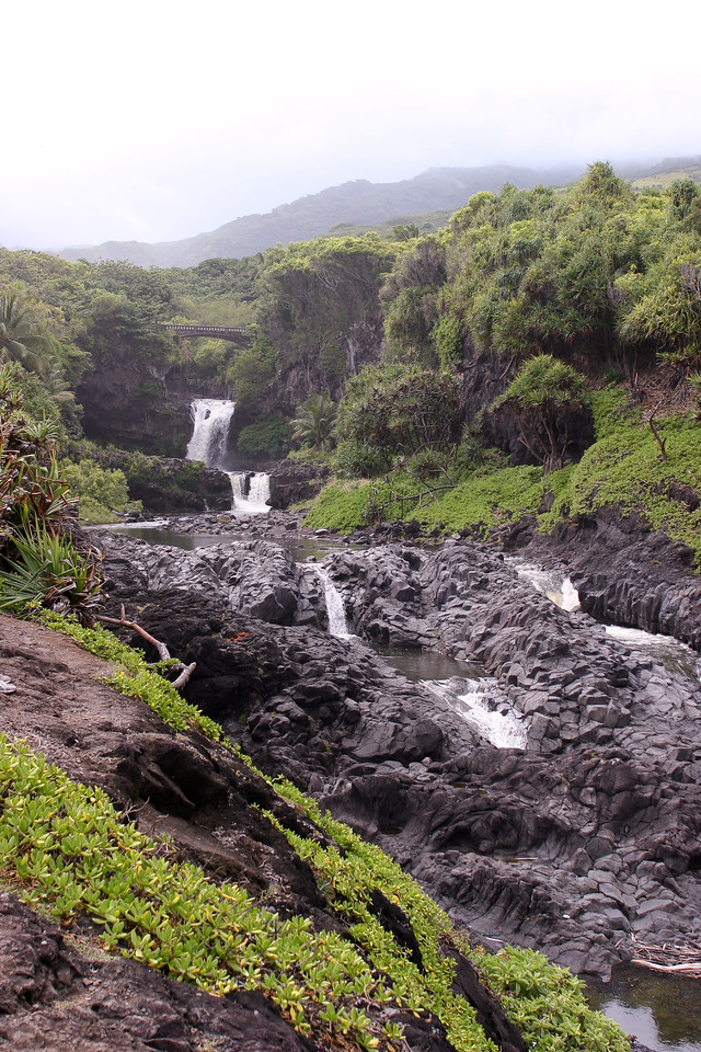O'hea Gulch showing a series of water falls and the Seven Sacred Pools, Road to Hana, Southeast Maui, Hawaii.