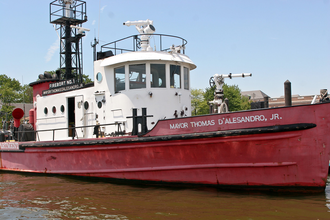 """Fireboat Number 2, Baltimore, Maryland. The 103 foot, 12,000 g.p.m., Fireboat No.2, """"Mayor Thomas D'Alesandro, Jr."""", was the flagship of Baltimore's fireboat fleet for more than half a century. During this period she has battled a number of notable waterfront blazes as the Port of Baltimore transformed from heavy industry and old wooden piers and wharfs to modern high speed marine terminals and expansive marinas for the boating public."""