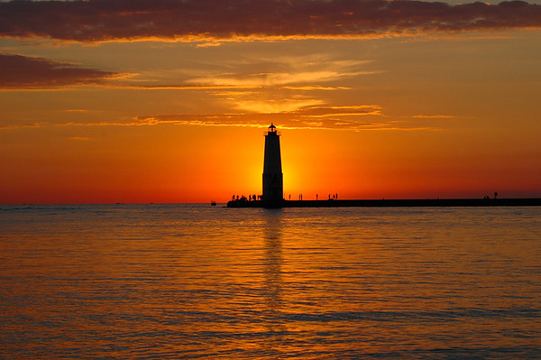 Sunset in August at Frankfort, Michigan.
