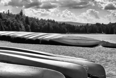 Row of canoes in the Catskills