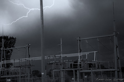 Lightning strikes the rod at an electric power substation
