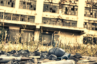 Ammunition and a grenade infront of the abandoned central warehouse