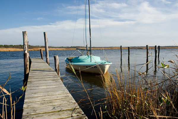 Boat docked in Bellport, Long Island