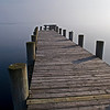 Patchogue, NY, a dock in the fog on the Great South Bay