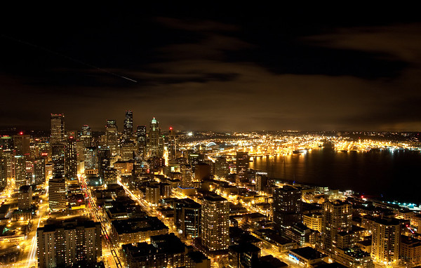 The Seattle skyline at night, taken from the top of the space needle