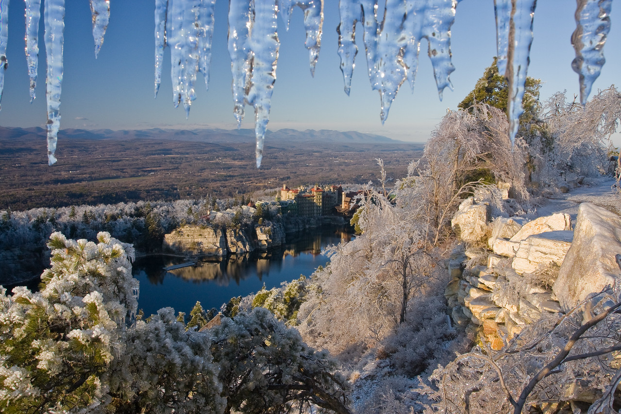 The Mohonk Mountain House after an ice storm