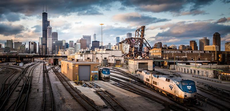 Sunset at the Rail Yards