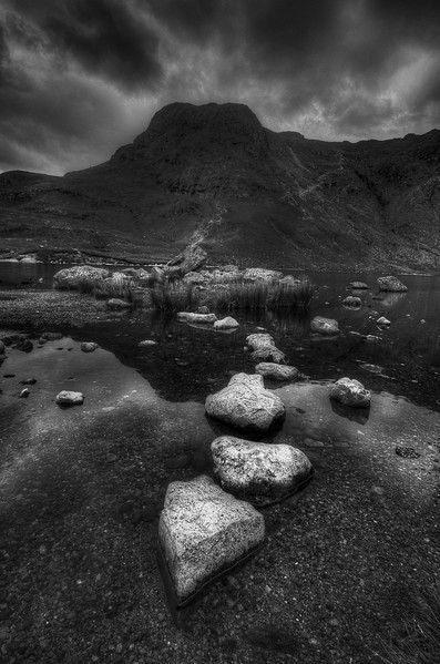 Harrison Stickle from Stickle Tarn, The Langdales, Cumbria, UK