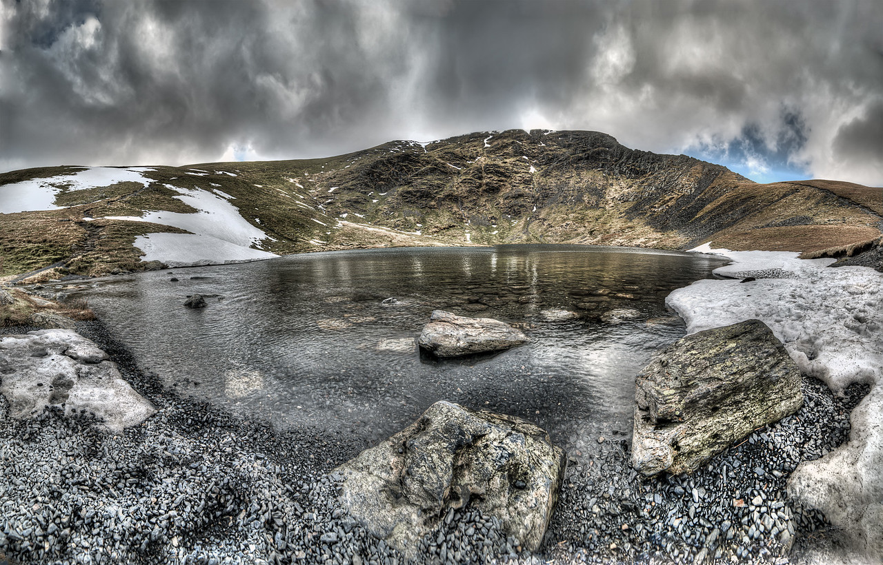 Panoramic view of Scales Tarn looking at Sharp Edge and Blencathra, Cumbria, UK