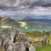Lake Windermere in the distance from close to the summit of Consiton Old Man, Coniston, Cumbria, UK