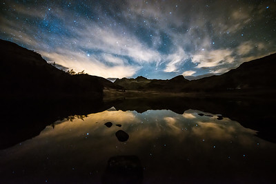 The Langdale Pikes from Blea Tarn at night, Cumbria, UK