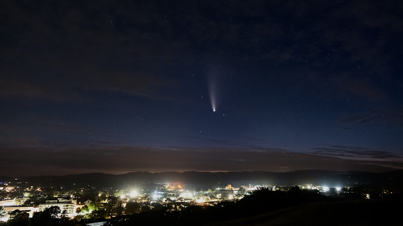 Comet Neowise over Kendal Town
