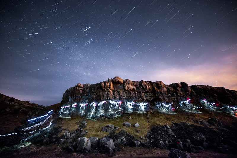 Night Climbing at Farleton Crags, Lancashire, UK