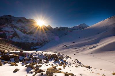 Dawn on the Thorung La Pass, Annapurna Circuit, Nepal