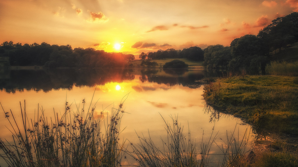 Sunset at Loughrigg Tarn, Cumbria, UK
