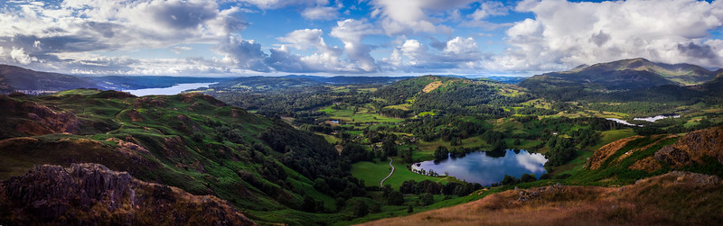 Loughrigg Tarn and Windermere from Loughrigg Fell
