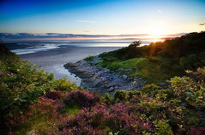 Sunset viewed from atop Jack Scout Crag, Silverdale, Lancashire, UK