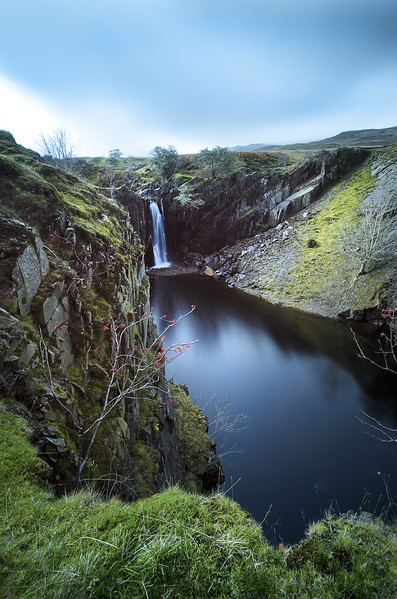 Tranearth Quarry and man made waterfall, Near Coniston, Cumbria, UK