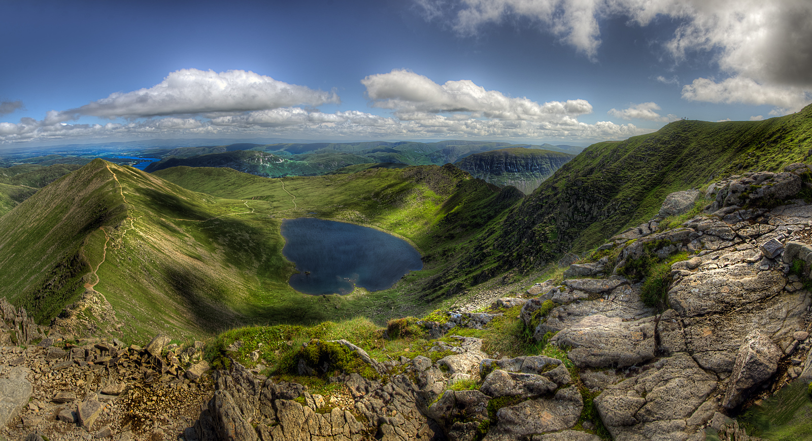 Red Tarn with Striding Edge, Swirral Edge and Catstycam, Cumbria, UK