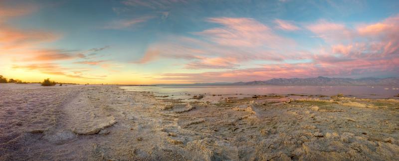 Sunrise starts at the eastern shore of the Salton Sea.