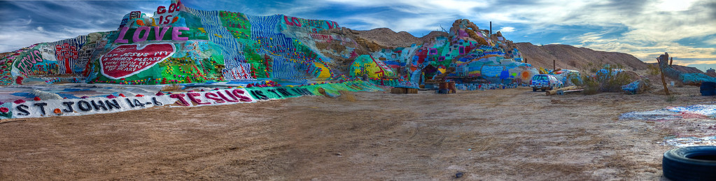 A little pano of Salvation Mountain. Too much desert, too little Salvation Mountain in this one....sorry!