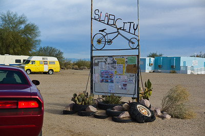 The sign is a great symbol of Slab City--repurposed and somehow it all came together through people self-organizing.
