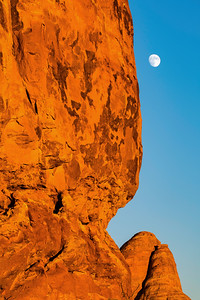 Rising Moon and Sandstone Formation