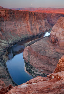Horseshoe Bend and Full Moonset