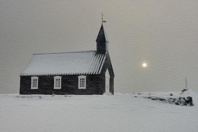 The Black Church on a Snowy Day, Iceland