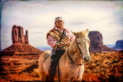 Navajo Man on Horse at Monument Valley
